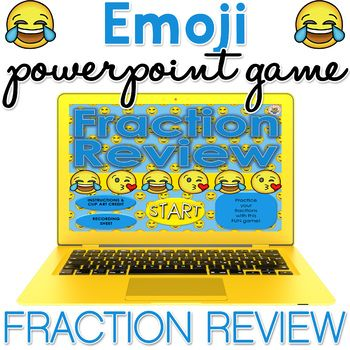 This Emoji Fraction Review PowerPoint self-checking game is fun, interactive, and hands on! It is brilliant for test prep, end of year review, practice, and assessment. You can use this on laptops, ipads, tablets, cell phone / mobile phones (just need powerpoint downloaded on your phone from the app store), and other devices.There are 20 problem slides - you start the game, and you'll see 20 different emoji's appear.