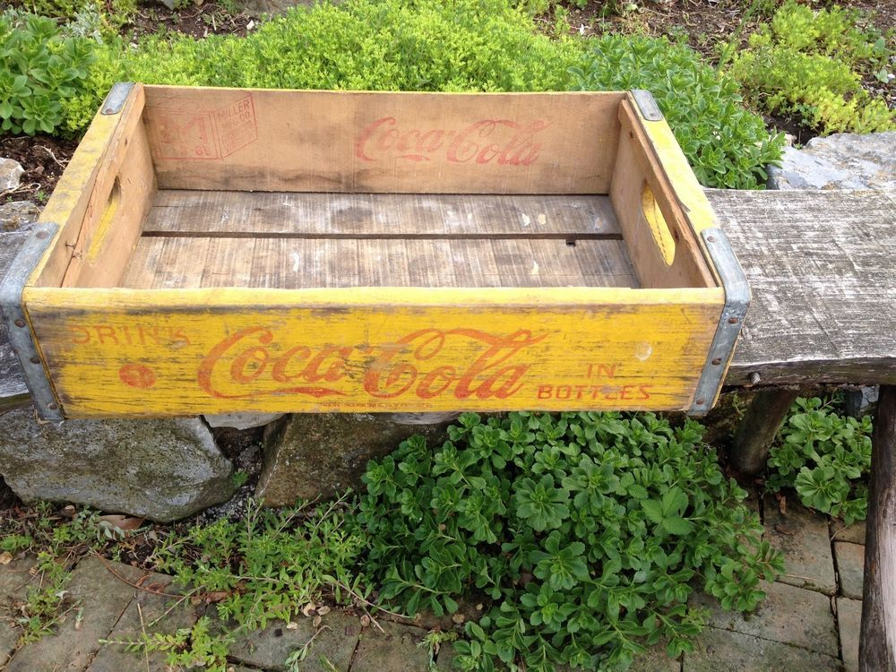 Vintage Yellow Wood Coca Cola Crate MID CENTURY ADVERTISING COKE CADDY CARRIER #CocaCola