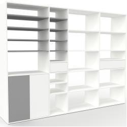 Photo of Regalsystem Weiß – Regalsystem: Schubladen in Weiß & Türen in Grau – Hochwertige Materialien – 265 x
