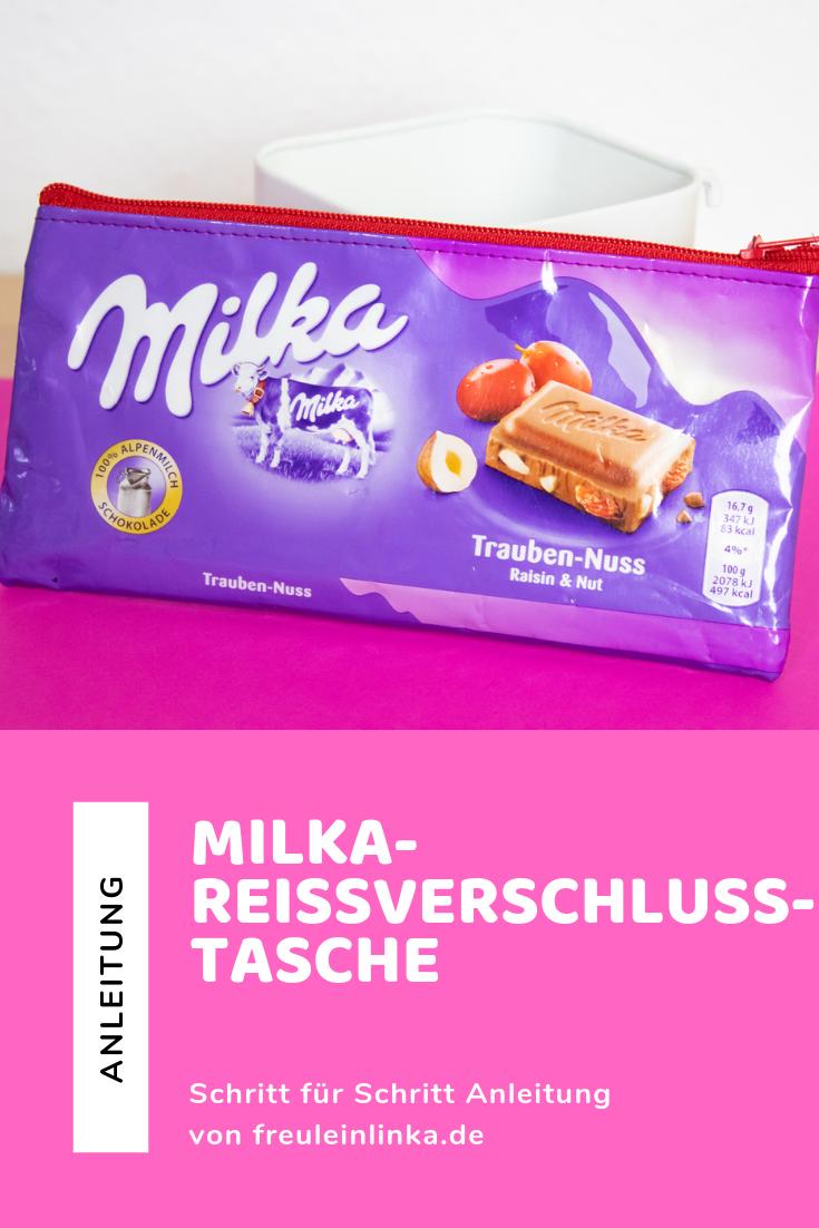 Anleitung: Reißverschlusstasche aus Milka Schokopapier nähen – Freulein Linka – DIY Basteln Häkeln