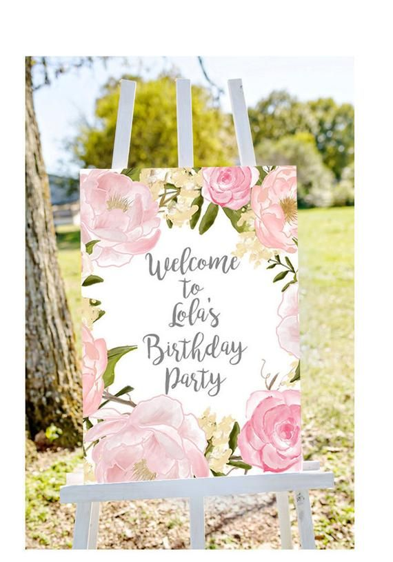 Printable Personalised Welcome Sign Birthday Party Blue Aqua Gold 18th 21st 30th