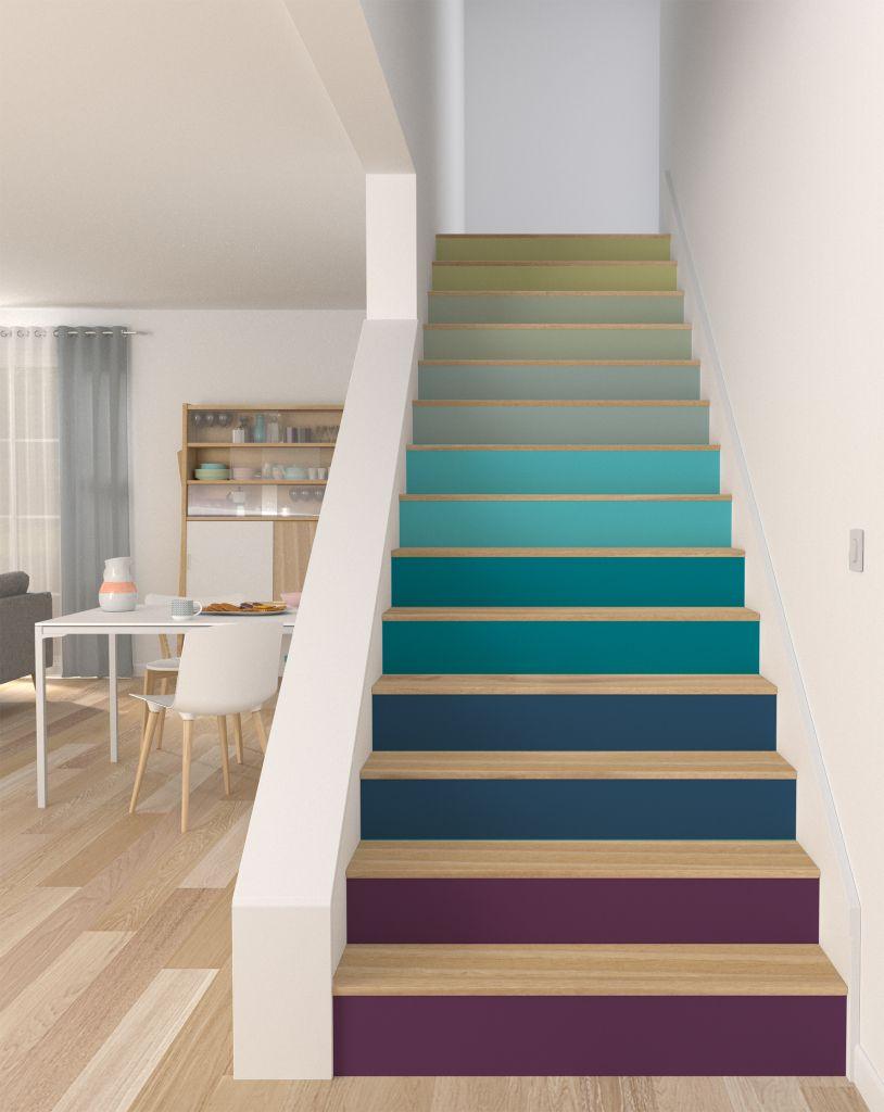et si on peignait les escaliers escalera escalera flotante y pasillos. Black Bedroom Furniture Sets. Home Design Ideas