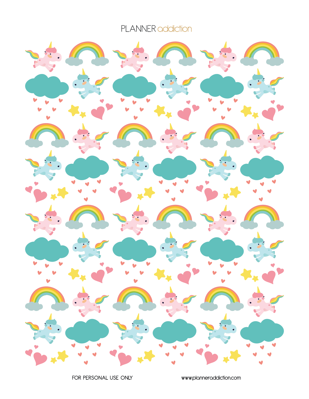 FREE printable unicorn planner stickers | wallpaper or backgrounds ...