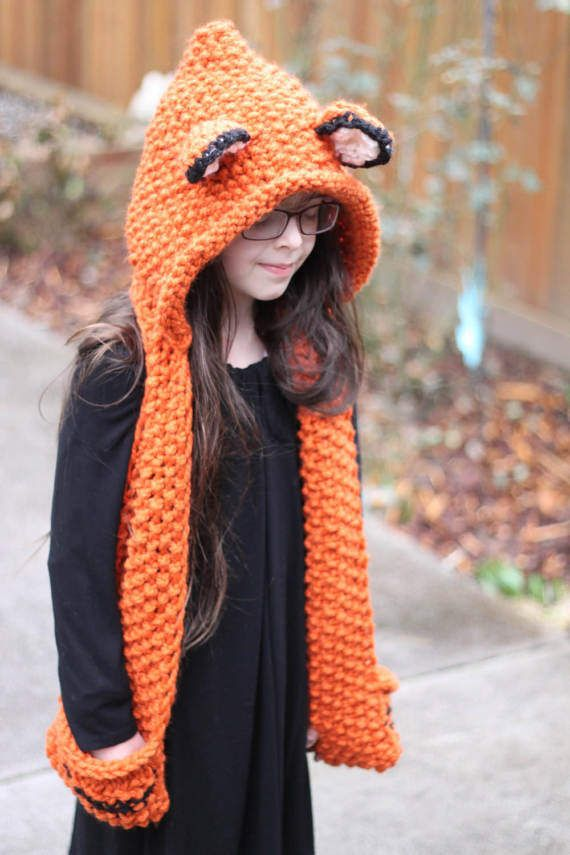 Knitting PATTERN- Knitted Fox Scarf with Hood, Childrens\' Sizes 6-12 ...