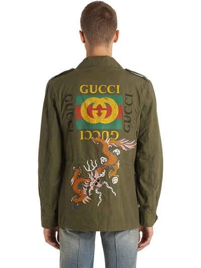 93ab177bb GUCCI - DRAGON WASHED COTTON FIELD JACKET - CASUAL JACKETS - MILITARY GREEN  - LUISAVIAROMA -