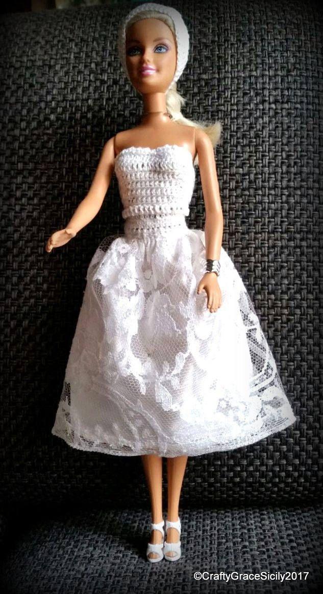 Abito Da Sposa Per Barbie Lungo Al Polpaccio In Cotone Bianco