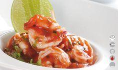Ceviche de camarones al estilo de Buenaventura: El ceviche al mejor estilo del Pacfico Colombiano, con un toque de alcohol y de picante; como se dice mucho color y sabor!