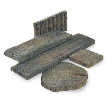 Pavé Stonewood en béton, imitation bois, L 225 x l 225 cm, ép