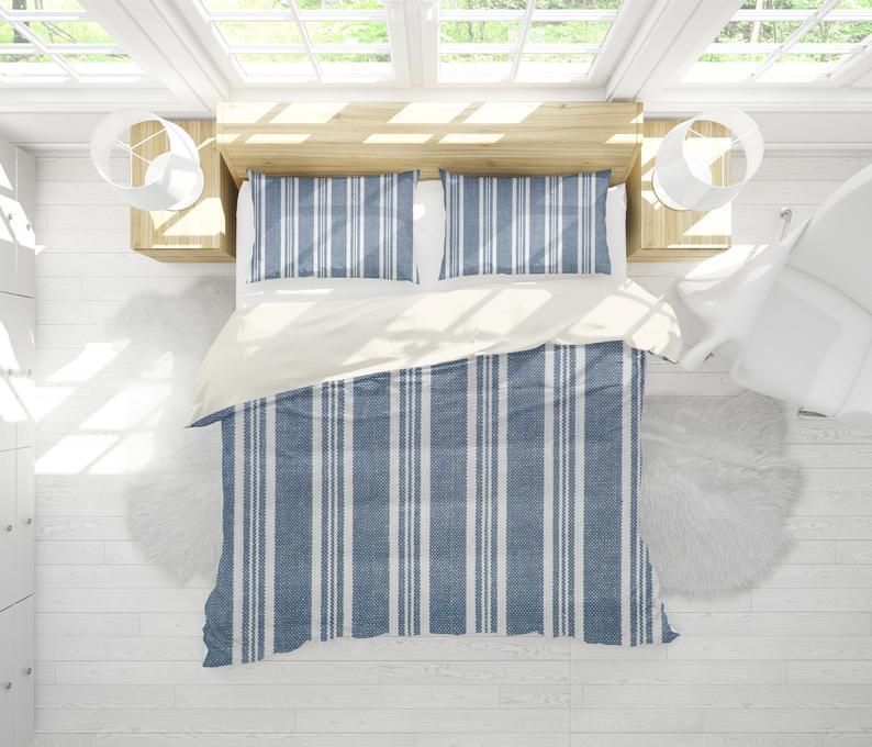 3d Blue Vintage Stripe Bedding Set Quilt Cover Quilt Duvet Etsy Bedding Set Quilt Cover Sets Quilt Cover