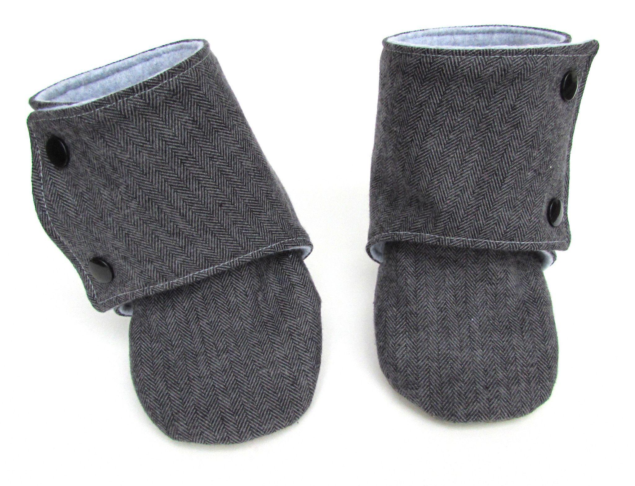 Gray Herringbone Baby Boots
