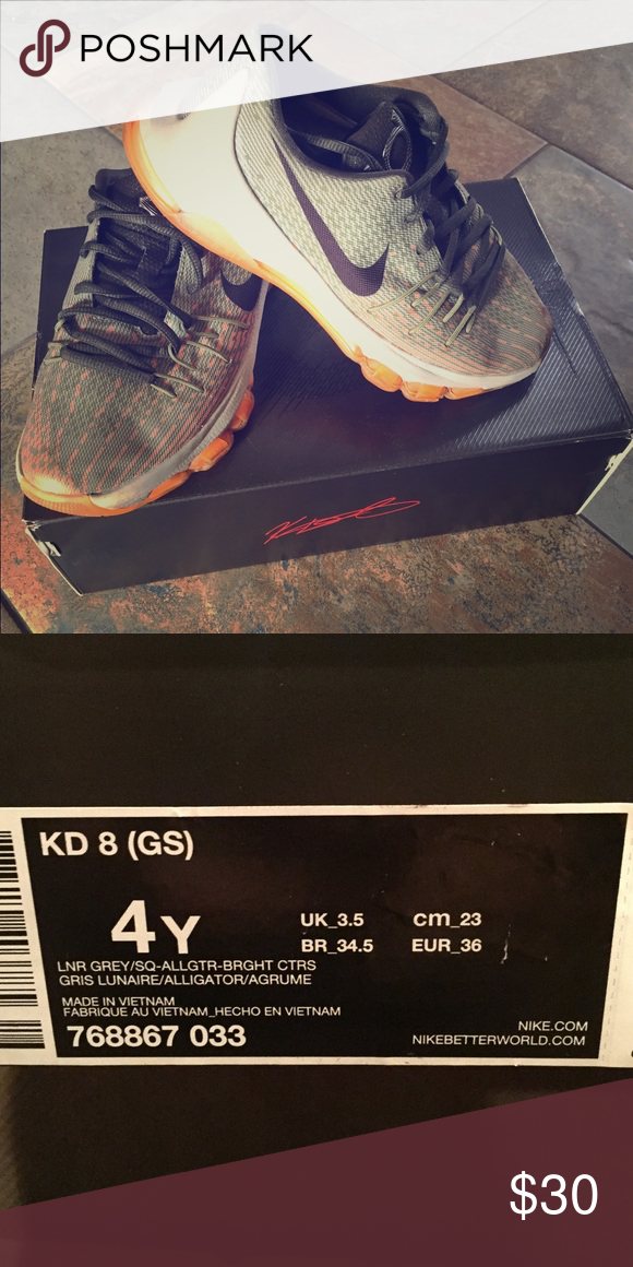 Nike Kids KD 8 shoes Excellent used condition.  Very clean. Nike Shoes Sneakers