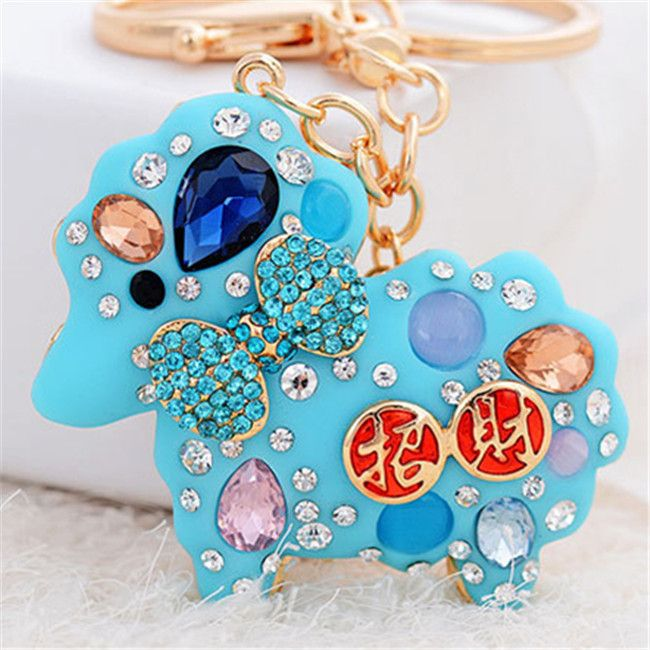 New Arrival Fashion Creative Resin Lucky Sheep Crystal Car keychains Gold Plated Keyrings Women Charm Gift Purse Bag Jewelry(China (Mainland))