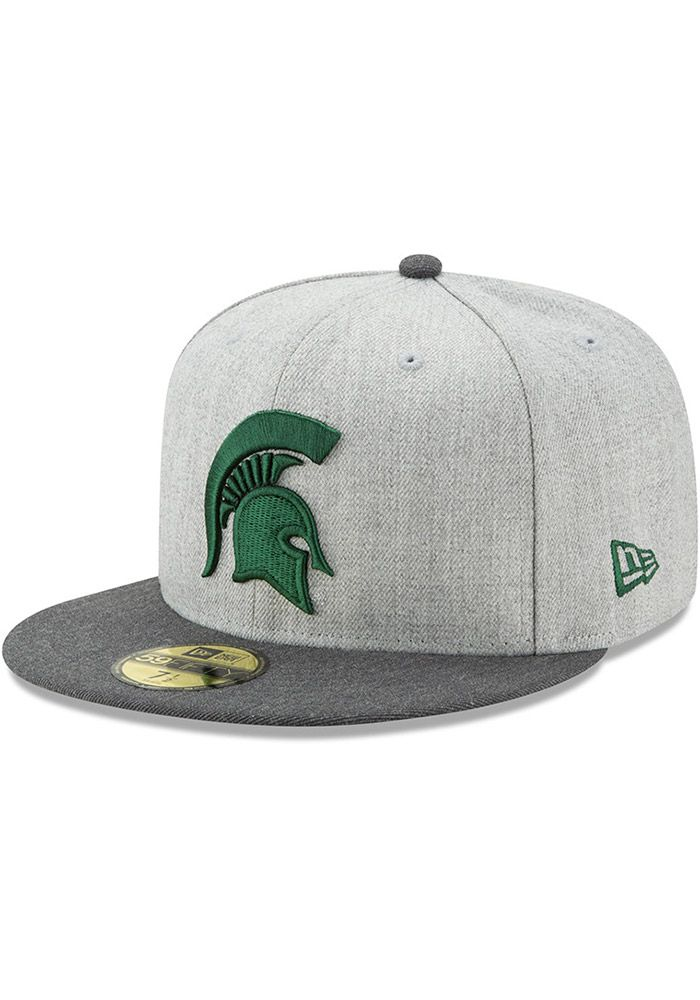 pretty nice 8a313 a7e9b New Era Michigan State Spartans Mens Grey Heather Action 59FIFTY Fitted Hat,  Grey, WOOL BLEND, Size 6 7 8
