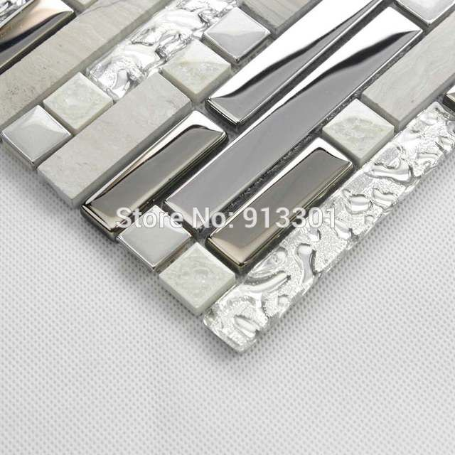 Online Shop Glass And Metal Backsplash Cheap Stainless Steel Kitchen Tiles Stone Flooring