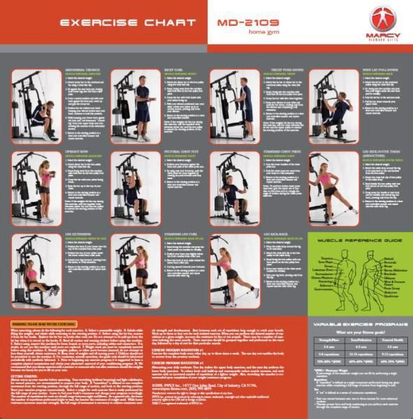 Marcy Platinum Home Gym Workout Chart | Flisol Home