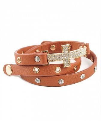 Brown leather wrap around cross bracelet  $27
