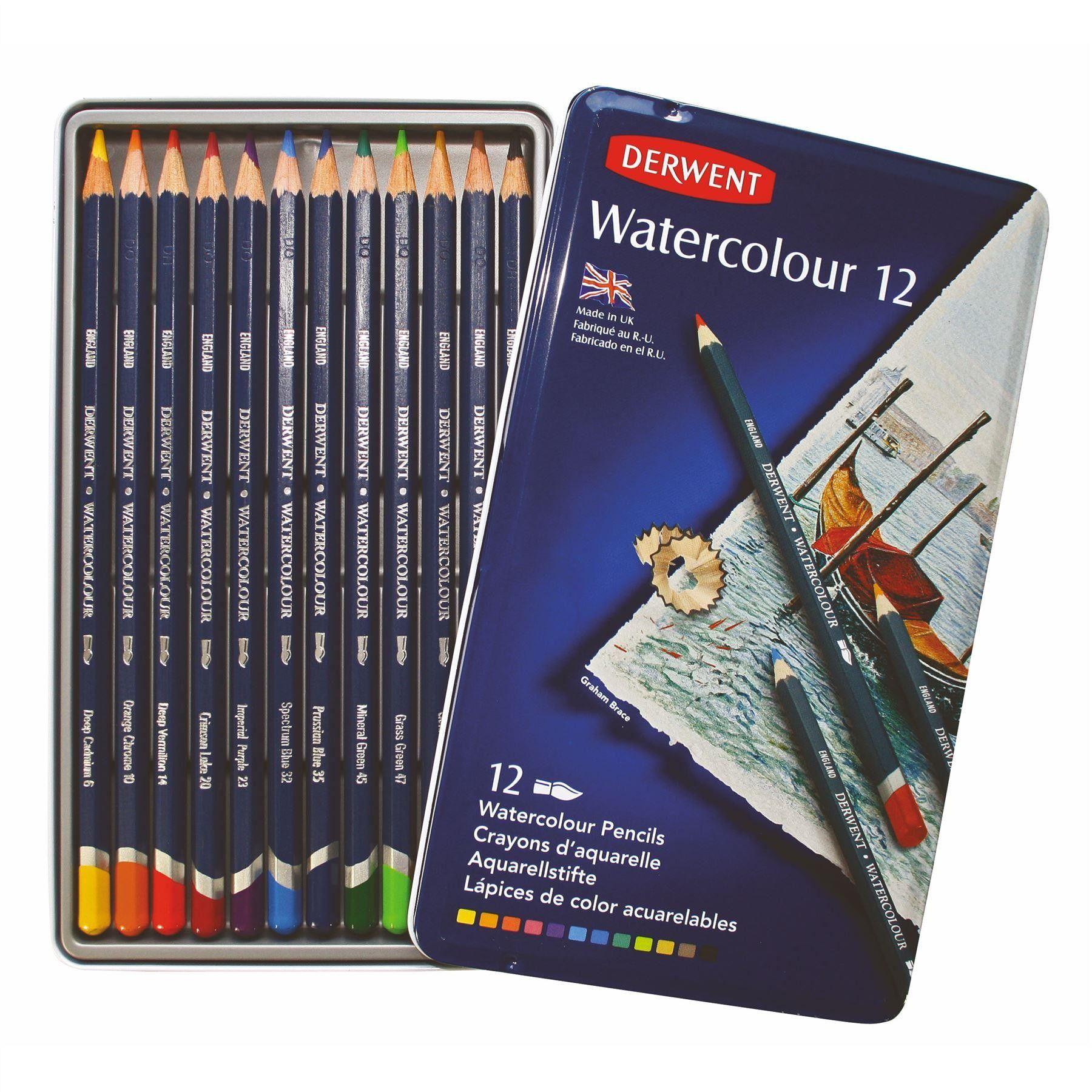 Derwent Watercolour 12 Tin Watercolor Pencils Art Pencil Set