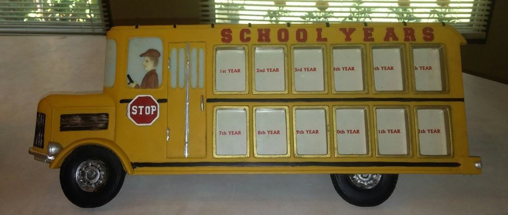 Dezine Hand Painted School Bus Picture Frame K 12 Years Item