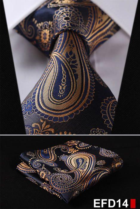 USA Blue Gold Striped Mens Tie Necktie Silk Jacquard Woven Set Wedding Party XL