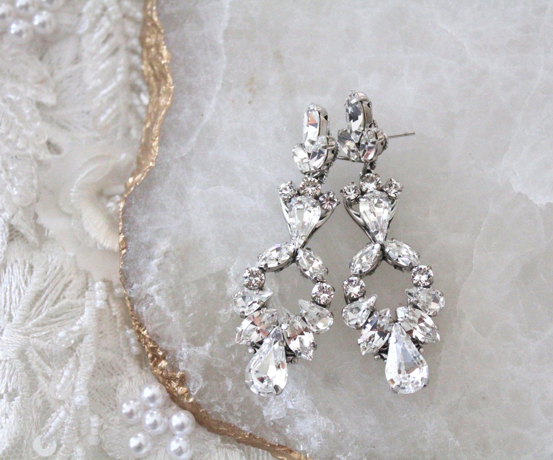 Crystal Bridal Earrings Bridal Jewelry Swarovski Vintage Etsy Crystal Bridal Earrings Crystal Bridal Bracelet Bridal Earrings