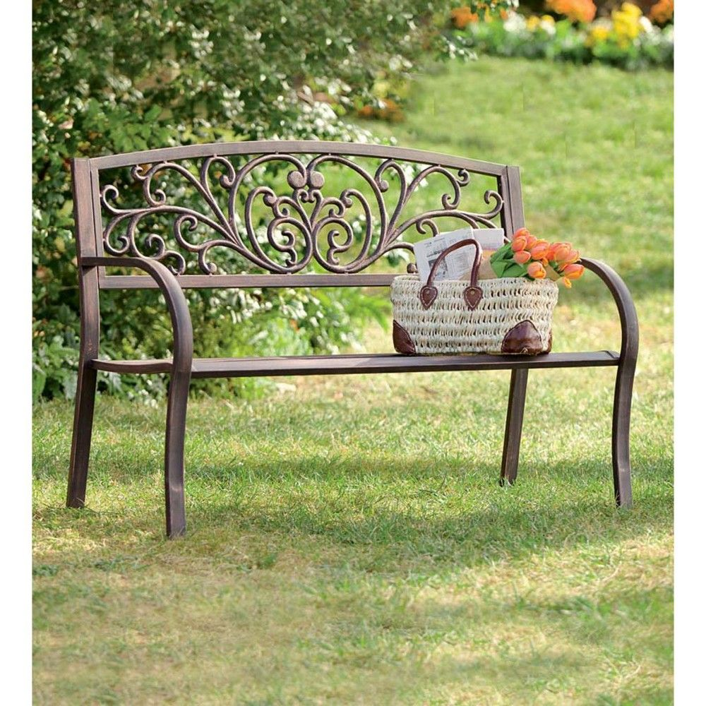 Blooming Garden Cast Aluminum Bench Plow Amp Hearth Brown
