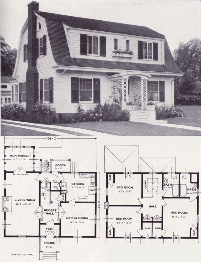 1920s Vintage Home Plans   Dutch Colonial Revival   The Washington     1920s Vintage Home Plans   Dutch Colonial Revival   The Washington    Standard Homes Company
