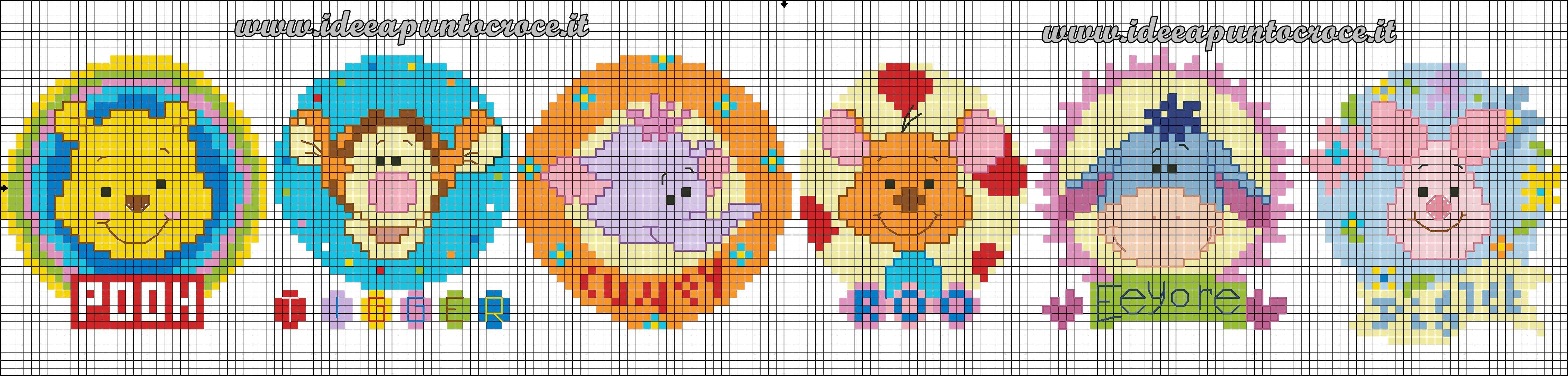Bordura punto croce winnie pooh pooh and friends cross for Punto croce disney winnie the pooh