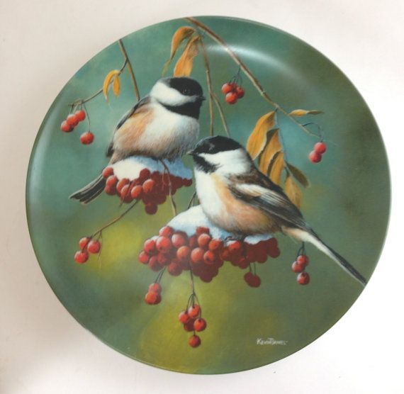 1986 Kevin Daniel The Chickadee Knowles China Plate Etsy Birds Painting China Painting Animal Paintings