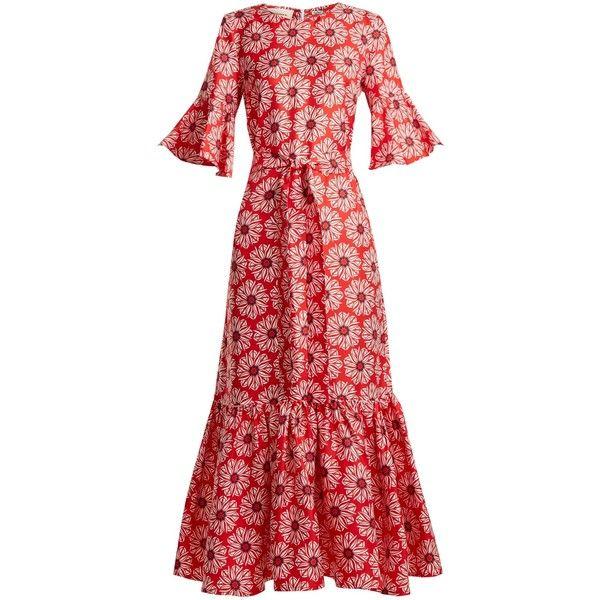 La DoubleJ Editions Curly Swing floral-print silk maxi dress ($676) ❤ liked on Polyvore featuring dresses, red multi, floral print dress, red silk dress, red swing dress, print maxi dress and swing dresses