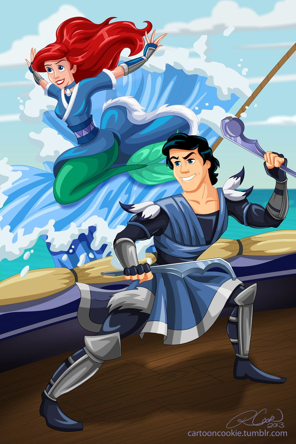 Disney/ Avatar Prince Eric and Ariel of the Water Tribe by racookie3.deviantart.com on @deviantART