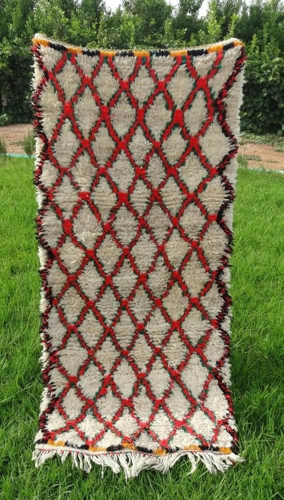 Authentic Handmade Moroccan Azilal Rug 100 Wool Berber Carpet 5 X 2