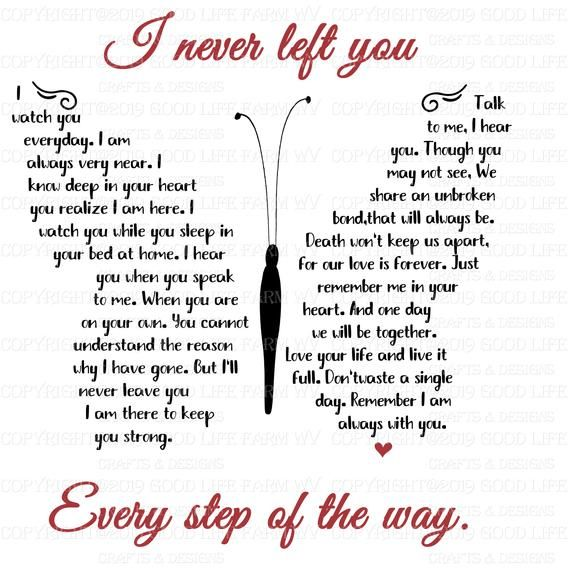 I never left you-Butterfly Poem, SVG, png, jpeg, e