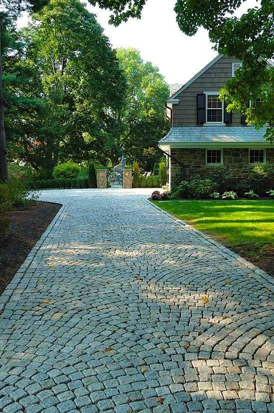 Granite Belgian Block Driveway Paving Design Driveway Design Driveway Landscaping Driveway Paving
