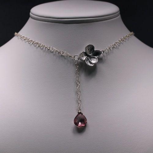 Plum Quartz & Sterling Silver Orchid Lariat  Necklace