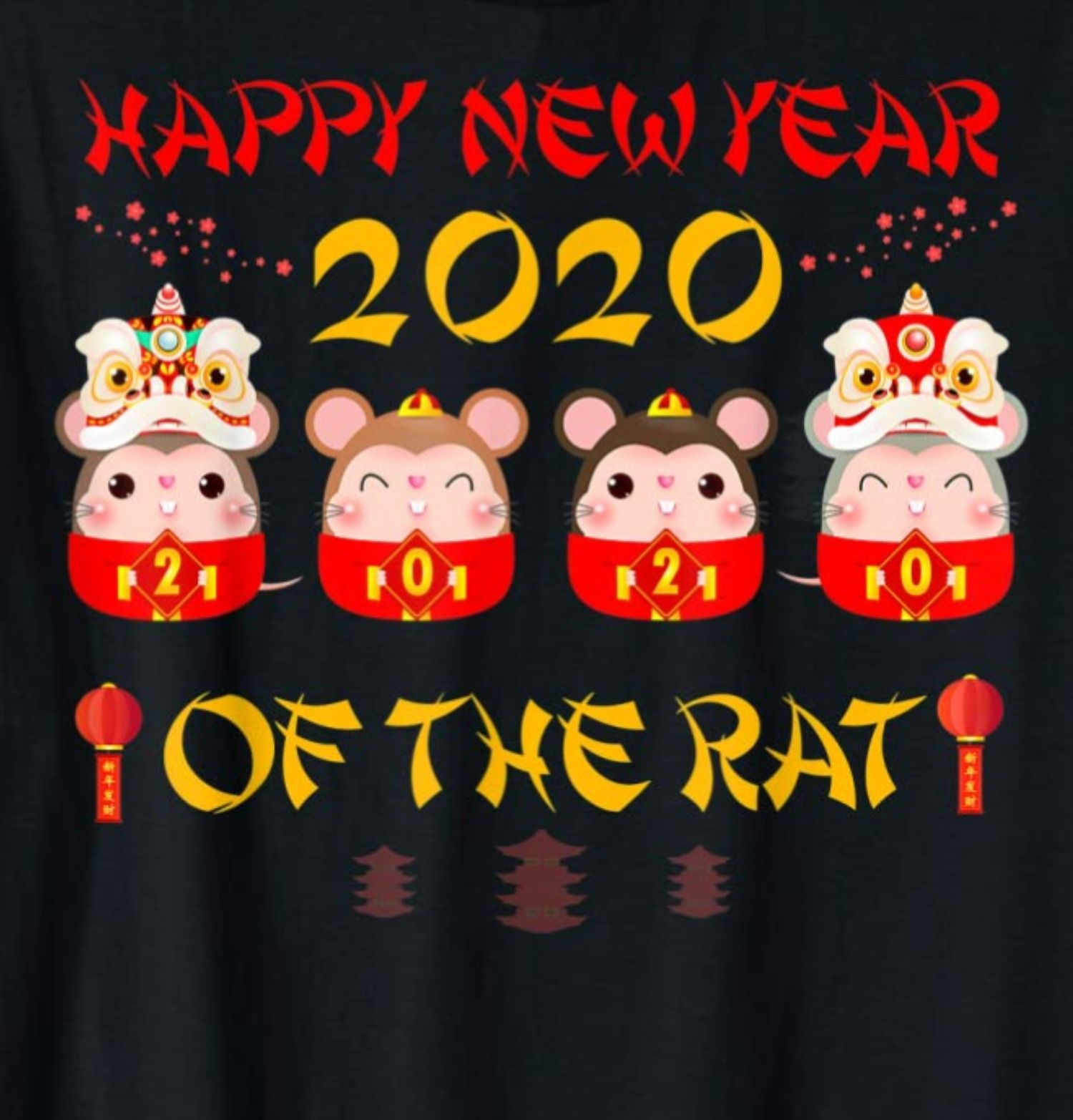 Cute Happy Chinese New Year 2020 Year of The Rat Spring