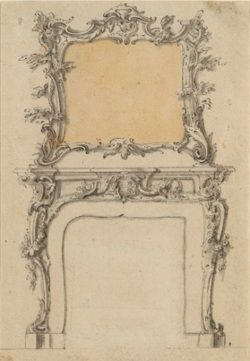 JOHN LINNELL (1729-1796) Design for a Fireplace and Overmantel Mirror Pencil, pen and ink, ink wash and watercolour