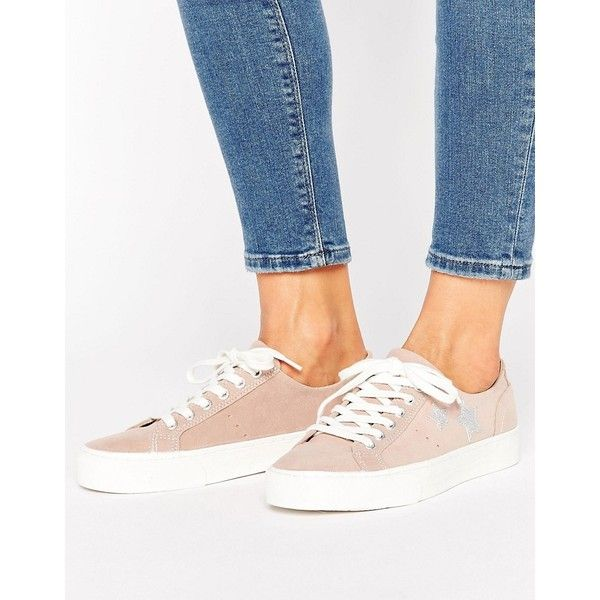 Pull Bear Suede Star Platform Trainer 39 Found On Polyvore Featuring Women S Fashion Shoes Sneake Platform Sneakers Style Platform Sneakers Sneakers White