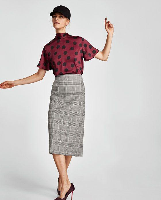 5b892ac00 FALDA TUBO CUADROS | Blusas | Faldas tubo, Faldas y Moda para mujer