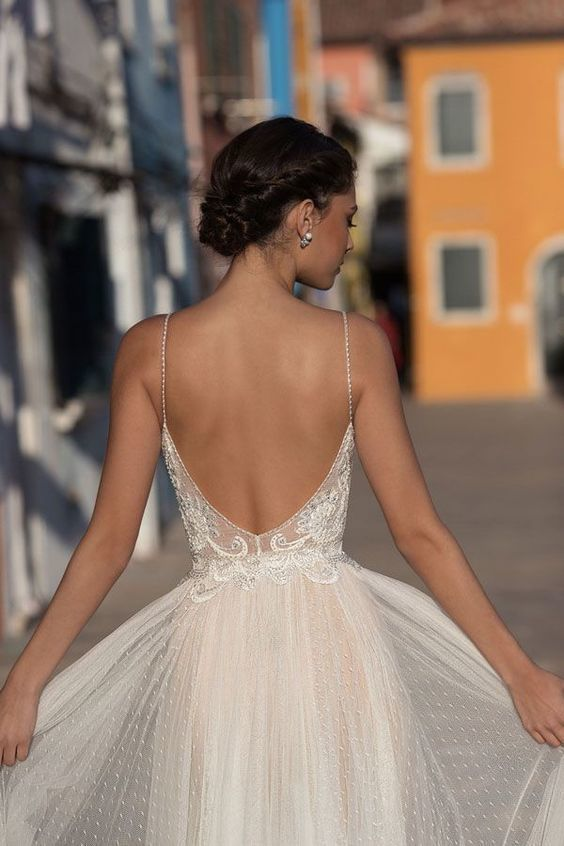 Beautiful mermaid lace boho tulle wedding dress, sexy backless wedding dress