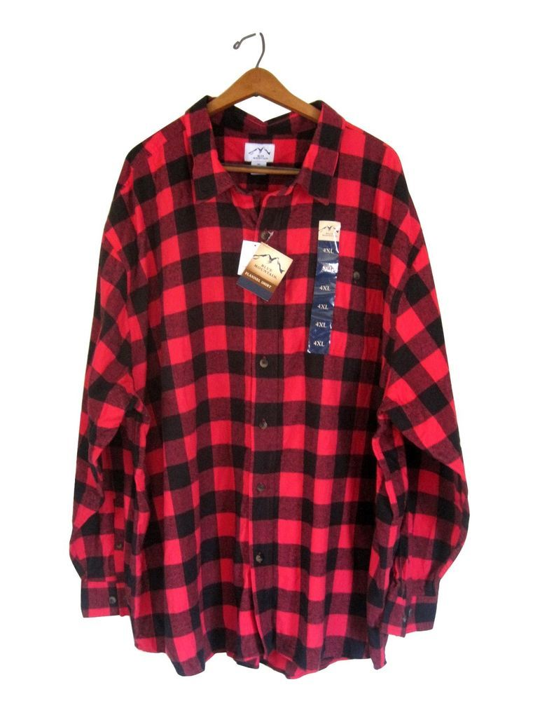 Red Flannel Shirt Men 4x 4xl Black Buffalo Plaid Check