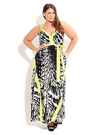 Look and feel effortlessly chic in this striking Feather Play Maxi dress. Boasting a bold geometric print with an acid trim for an eye-catching appeal, elasticised waist, removable self-tie sash, belt loops and elasticised back detail. sonsi.com