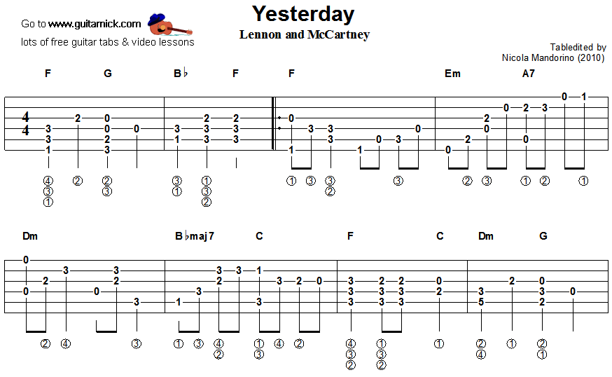 guitarnick | Yesterday, Beatles - fingerstyle guitar tablature 1 ...