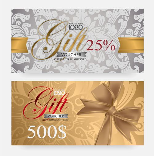 Great Vector Set Of Gift Voucher Design Elements 02 Within Design Gift Vouchers Free
