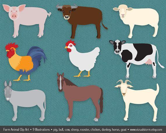 Realistic Farm Animals Clipart Png Barn Animal Clip Art Cow Etsy Animal Clipart Barn Animals Farm Animal Birthday