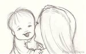 Mother And Baby Drawing Sketch Template Girl Drawing Sketches