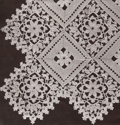 Vintage Crochet MOTIF BLOCK Lace Flower Bedspread Pattern BlockLace ...