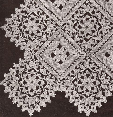 Vintage Crochet Motif Block Lace Flower Bedspread Pattern Blocklace