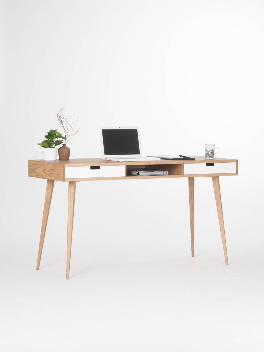 Modern Oak Desk With White Drawers And Storage Mid Century Oak Desk Modern Scandinavian Desk Oak Desk