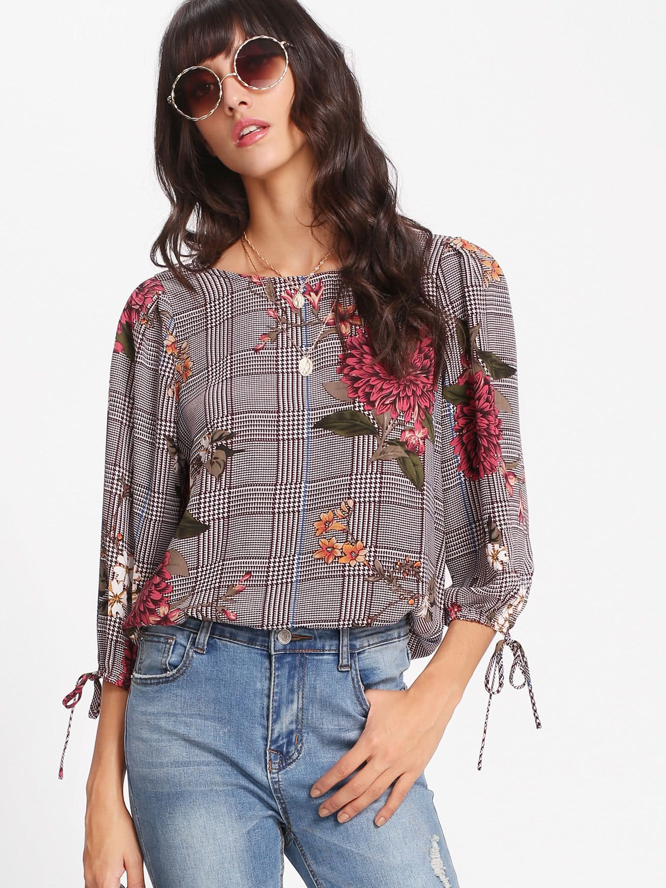 05a0ad25c37 Shop Tie Cuff Plaid And Floral Top online. SheIn offers Tie Cuff Plaid And  Floral Top   more to fit your fashionable needs.