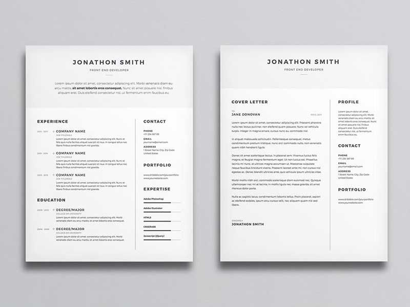 20 Best Resume Template Psd Free Download Minimal Resume Best Resume Template Cover Letter Template
